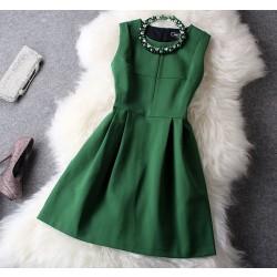 Nouveau Unique Frais vert perles Fête Robe