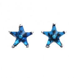 Douce étoile bleue à cinq branches au cœur de l'océan Mini clous d'oreilles pour fille en argent