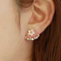 Frais Doré Ancre forme Gem Fleurs Diamant Aiguille d'Argent Boucles d'oreilles