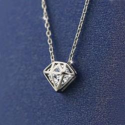 Argent Creux diamant Brillant Zircon Pendentif Chaîne Collier