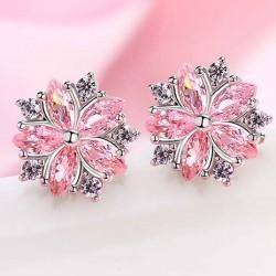 Boucles d'oreilles en zircon de jolies demoiselles d'argent avec de jolies perles de style cerise et de style
