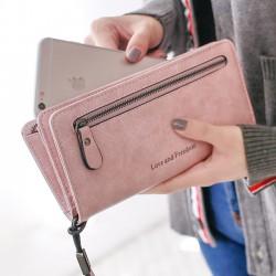 Retro Carrés Portefeuille PU Amour Liberté Lettres Zipper Purse Téléphone Portable Pochette