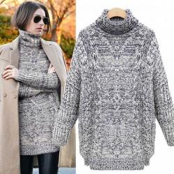 Thick High Collar Slit Knitting Twist Sweater