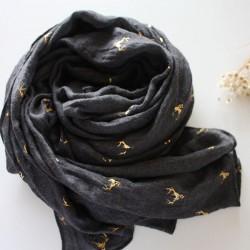 Écharpe en coton avec cerf doré à côtés chauds