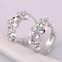 Noble Fleurs Incruster cristal Sterling argent élégant Boucles d'oreilles Cercle