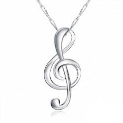 Elégant Diamant Sterling Silver polissage Musique Note Pendentif Collier