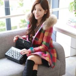Fashion Fur Hat Colorful Grid Wool Coat