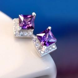 Mauve Zircon Cristal incrustée 925 Oreille Stud Argent