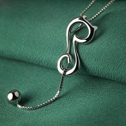 Élégant Creux Un Chat Chaton Balle Long Queue Animaux Argent collier pendentif