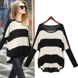 Batwig Sleeve Striped Loose Wool Sweater