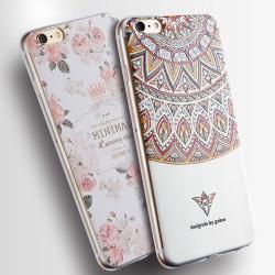 Se leva Floral Triangle Totem Peint Le soulagement Silicone Frais Iphone 6 Cas