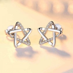 Douces femmes argent zircon étoiles mignonnes boucles d'oreilles creux