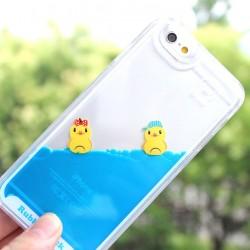 Mignon Baignade Petit Canard Un Pièce Bleu IPhone liquide 5 / 5S / 6 / 6S Cas