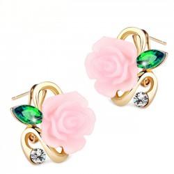 rose blanche Saphir Diamant doré Lady Goujons d'oreilles élégant