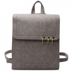 Rétro carré givré PU sac à dos à rabat anneaux circulaires en métal multifonctionnel sac à bandoulière sac à dos