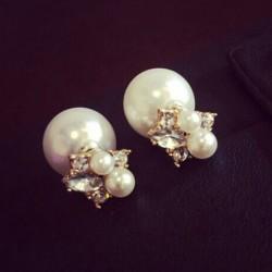 Doux Mesdames Diamond Pearl Pièces Brillante Boucles d'oreilles double