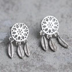 Boucles d'oreilles évidées en forme de cœur avec pompon folklorique rétro pour attrape-rêves rétro