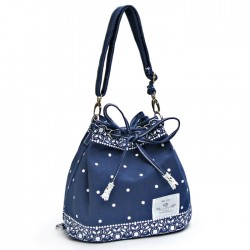 Frais Bow dentelle Polka Dot cordon Shoulder Bag Messenger Bag Sac à dos