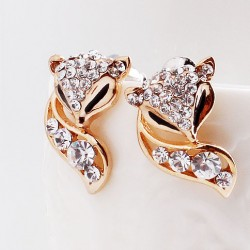 la mode mignon golden fox strass boucles d'oreilles