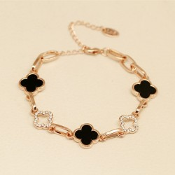 Black And White Diamond Clover Rose Gold Bracelets