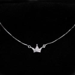 Diamant Mini Impérial Couronne Pendentif Argent collier délicat