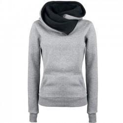 Veste épaisse pull femme col rabattu simple à capuche pulls manteau automne femmes