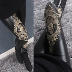 Fils d'or de broderie de dentelle de fille de mode épissage cuir mat Fuax automne et hiver coton velours neuvième leggings