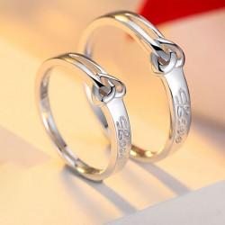 Sucré Heart-Shaped nouez 925 Argent Caractères Couple Anneaux