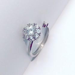 Bague à diamant ouvert unique à la mode, réglable en argent