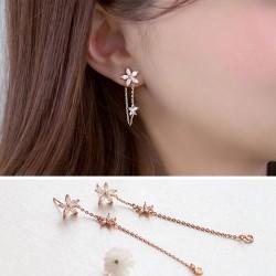 Goujon de boucles d'oreille de chaîne de gland de fil de fleur de mode en argent sterling 925