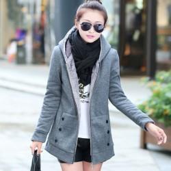 Thick Velvet Sweater Hooded Jacket Coat