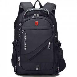 Sac en nylon solide d'Oxford extérieur imperméable noir grand sac à dos multifonctionnel de voyage de camping