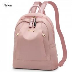 Sac à dos scolaire simple et grand en nylon PU noir rose avec poche