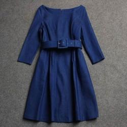 Haut de gamme Élégant Toile de Jean en Tissu Robe