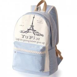 Sac à dos d'école de pois frais de dentelle Tour Eiffel Université Toile Sac à dos