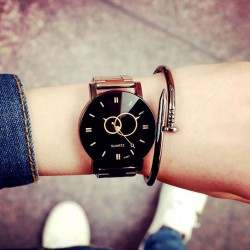 Harajuku Simple Steel Strip Couple Watch Student Quartz watches