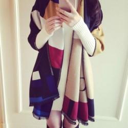 Écharpe chaude en laine cachemire pour femmes à double sort écharpe de formes géométriques
