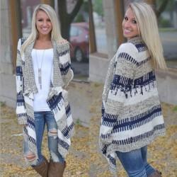 Cardigan en tricot à manches longues de couleur irrégulière à la mode