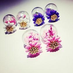 Sucré Petit Marguerite Une fleur Pentacle Verre double Boucles d'oreilles Bubbles