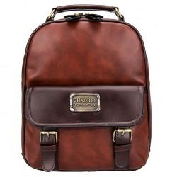 Sac à grain en simili cuir rétro Sac à dos à l'école en PU vintage voyage