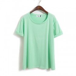 Loisir Solide sertissage Les manches Coton Court Manche En vrac T-shirt
