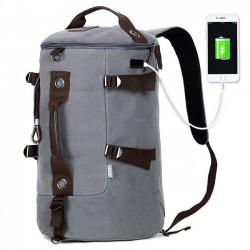 Tambour imperméable unique de sac de sports de camping de grande capacité   Sac à dos de voyage en toile d'interface USB