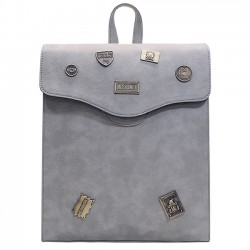 Les puces en métal d'unité centrale rétro de fille givrée rabat carré avec le sac à dos d'école de trou de casque