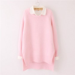Casual Loose Solid O-neck Batwing Sleeve Slits Asymmetrical Hem Sweater