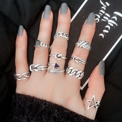 Vintage Accessories Arrow Chain Feather Agate Silver Opening Rings