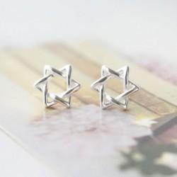 Unique Winding Hexagram Star Silver Earring Studs