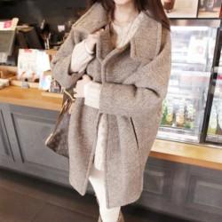 Femmes Gris Revers Épais De laine Long Manteau