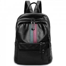 Rétro rayure verte rouge bloquant grande capacité école sac à dos PU noir sac à dos de voyage