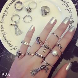 Retro 925 Silver Tassel Pearl Heart Wing Opening Women Rings