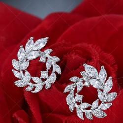 Shining Spiral Circular Leaves Olive Branch Rhinestone Lady Earrings Studs